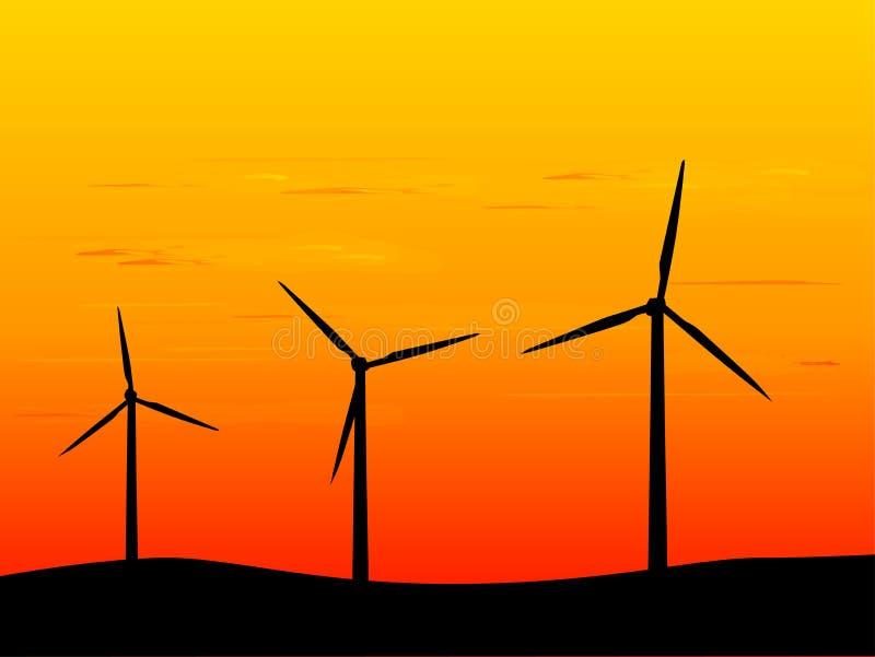 Turbines de vent neuves d'énergie illustration stock