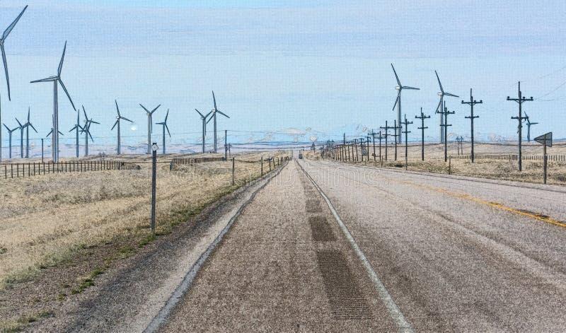 Turbines de vent de rotation fonctionnantes de route photographie stock libre de droits