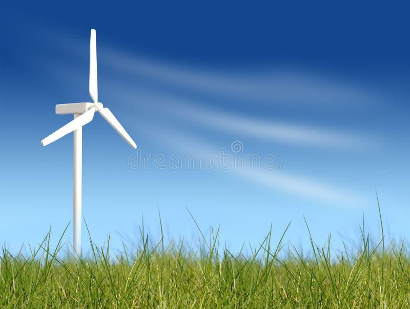 Turbines de vent sur le champ vert photographie stock libre de droits