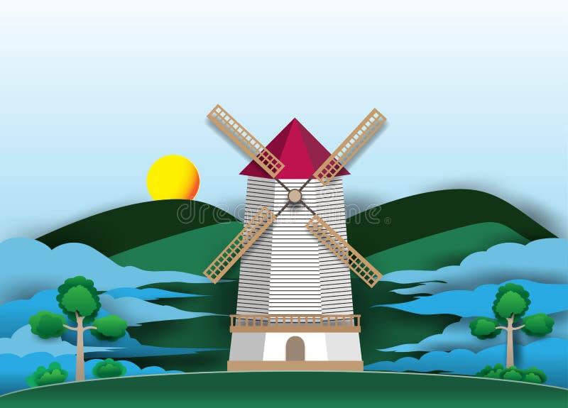 Turbines de vent sur les montagnes et les nuages verts dans le ciel, images libres de droits