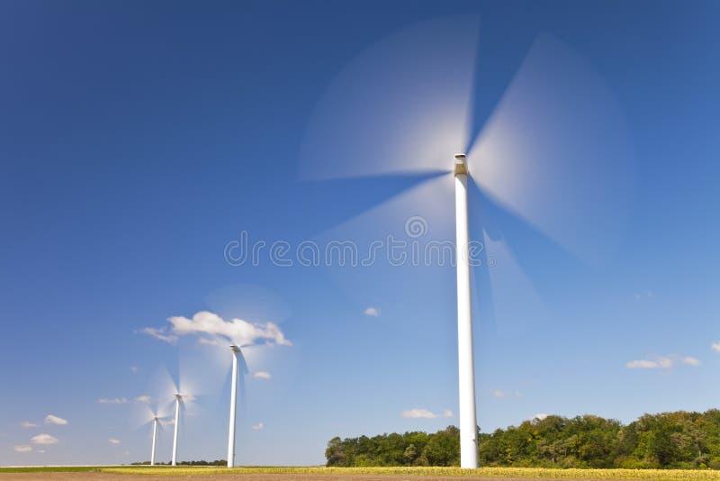 Turbines de vent vertes d'énergie dans le domaine des tournesols image libre de droits