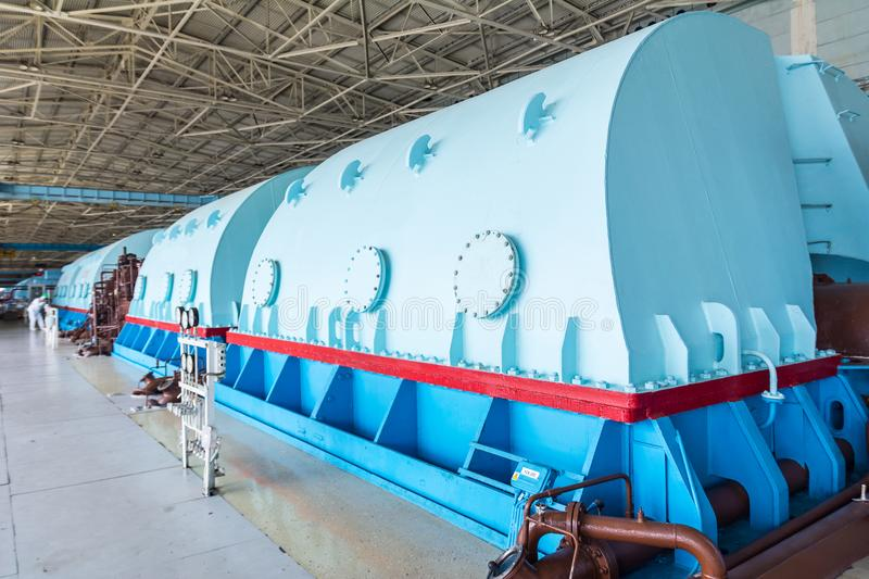 Turbines in the Nuclear Power Plant. Turbines in the Engine Room for Steam Turbines of the Kursk Nuclear Power Plant stock photos