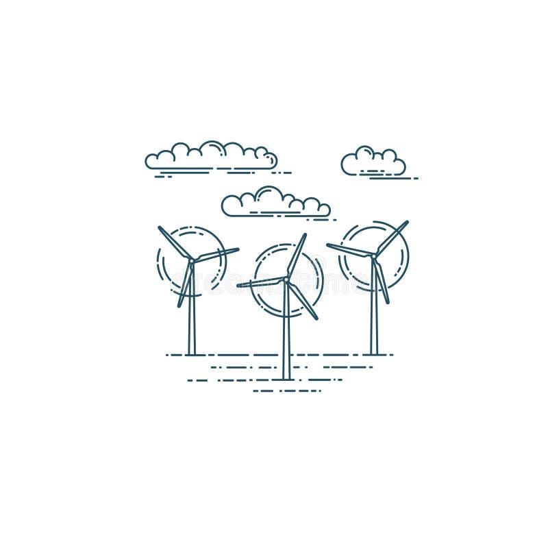Turbines et nuages de générateur de vent illustration libre de droits