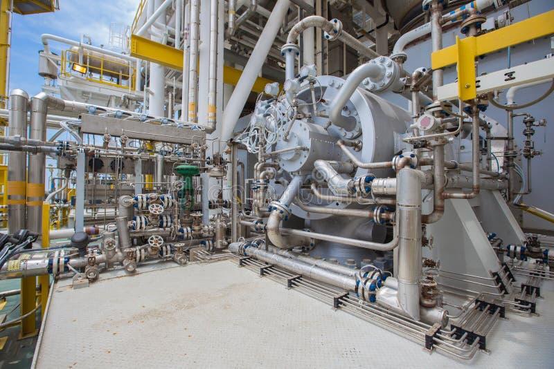 Turbingaskompressor av fossila bränslen som bearbetar plattformen arkivbilder