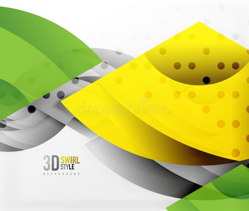 Turbini ed ondeggi gli oggetti di effetto 3d, progettazione astratta di vettore del modello illustrazione di stock