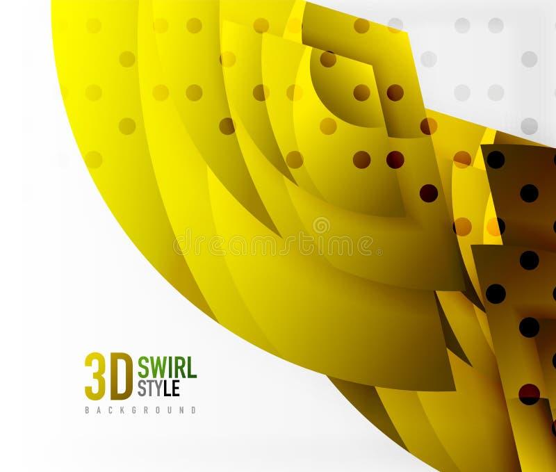Turbini ed ondeggi gli oggetti di effetto 3d, progettazione astratta di vettore del modello royalty illustrazione gratis