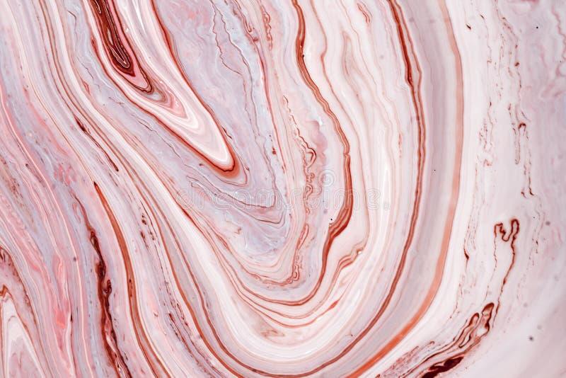 Turbinii di marmo o delle ondulazioni dell'agata Struttura di marmo liquida con i colori rosa e marroni Fondo astratto della pitt immagini stock