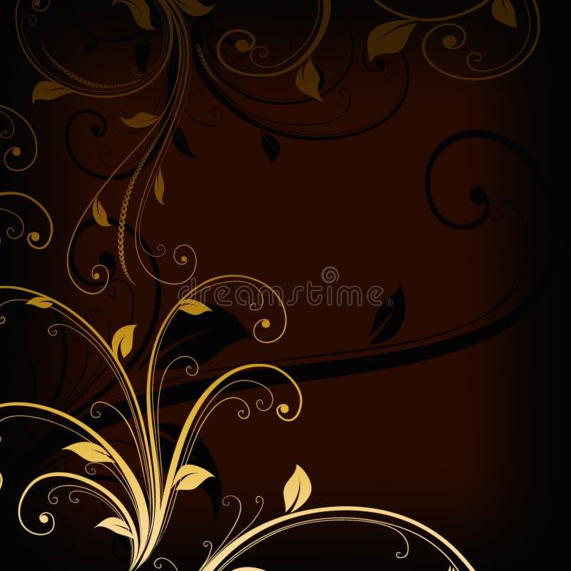 Turbinii floreali dorati d'annata su fondo scuro illustrazione vettoriale