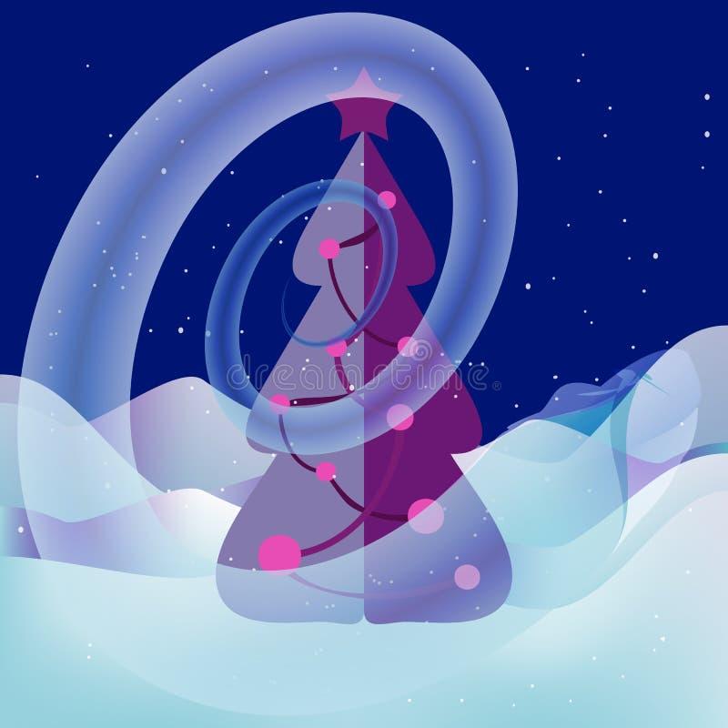 Turbinio della neve intorno all'albero di natale Paesaggio magico royalty illustrazione gratis