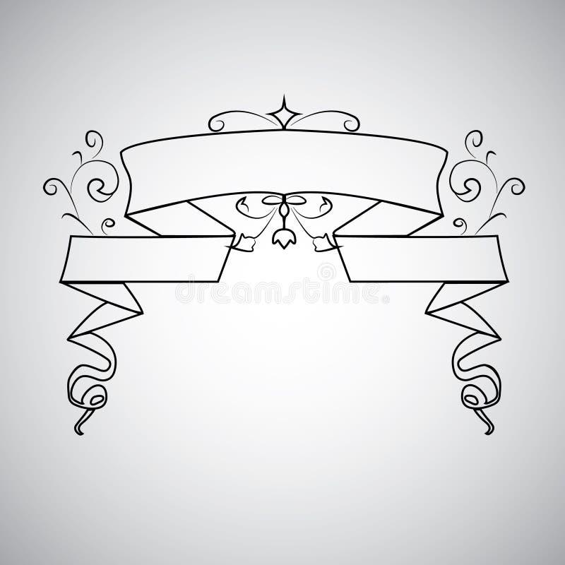 Turbinio floreale del fogliame di acanto di stile dell'oggetto d'antiquariato del modello della struttura del rotolo dell'ornamen illustrazione vettoriale
