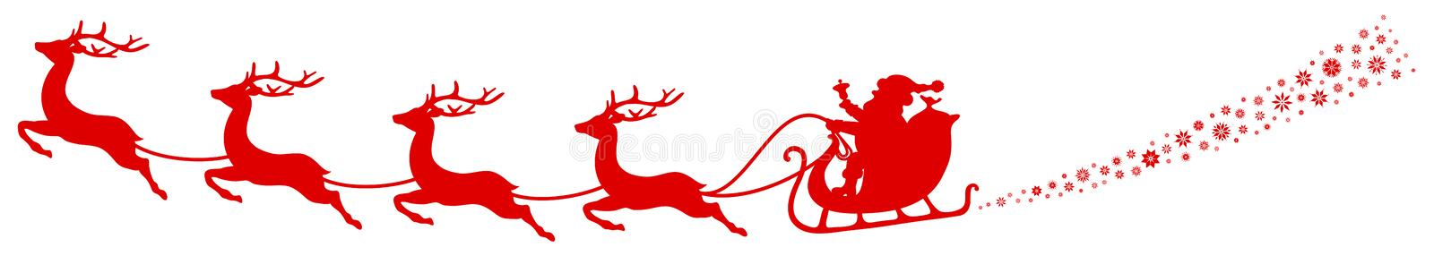 Turbinio rosso di Sleigh Santa And Four Flying Reindeers di Natale royalty illustrazione gratis
