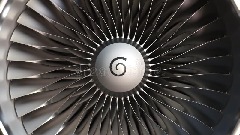 Turbinowego silnika ostrza w górę, realistyczny 3D rendering royalty ilustracja
