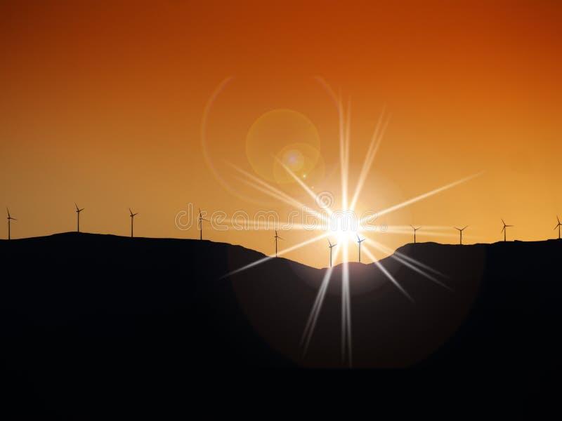 Turbiny wiatrowe na szczycie wzgórza zdjęcia royalty free