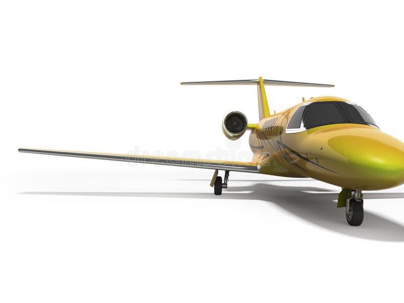Turbo avion privé 3D de concept rendre sur le fond blanc avec l'ombre illustration stock