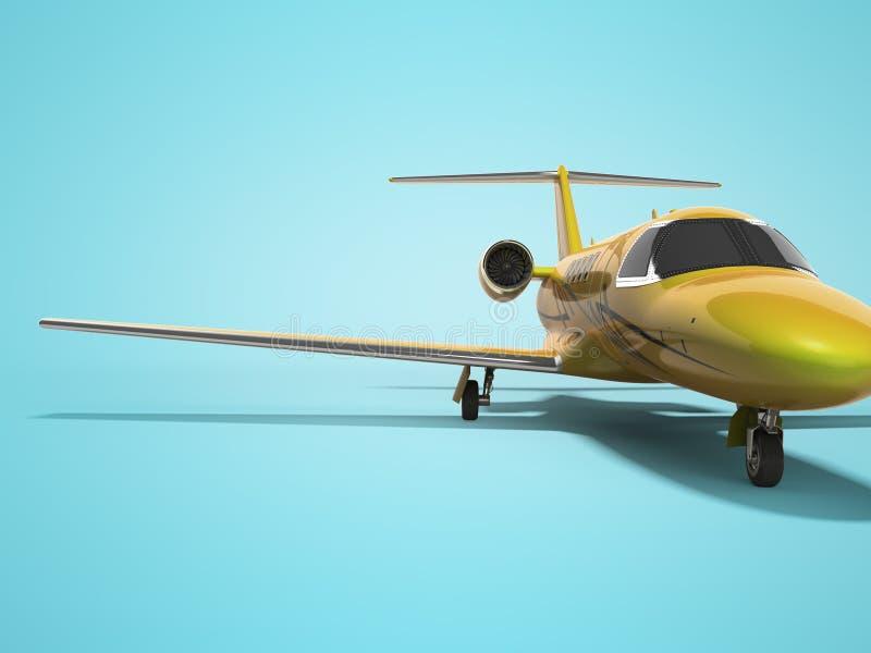 Turbo avion privé 3D de concept rendre sur le fond bleu avec l'ombre illustration de vecteur