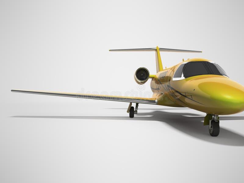 Turbo avion privé 3D de concept rendre sur le fond gris avec l'ombre illustration libre de droits