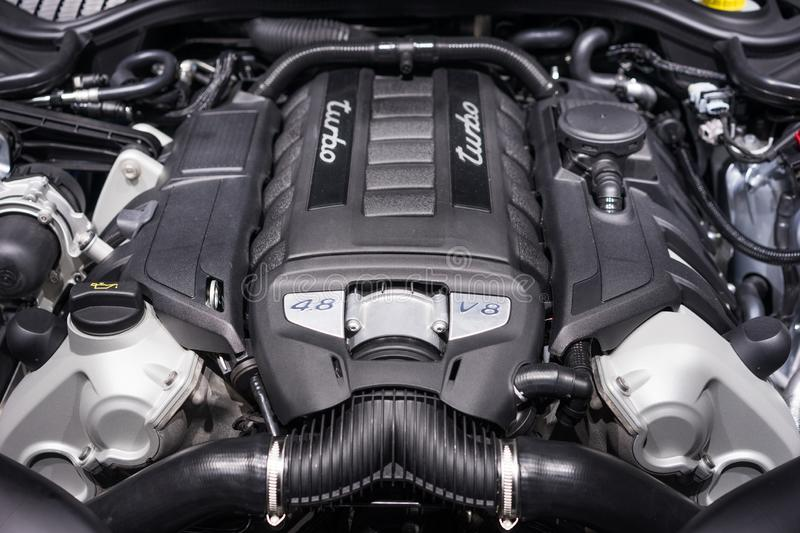 Turbo engine. Close-up of a 4.8L turbo engine stock images