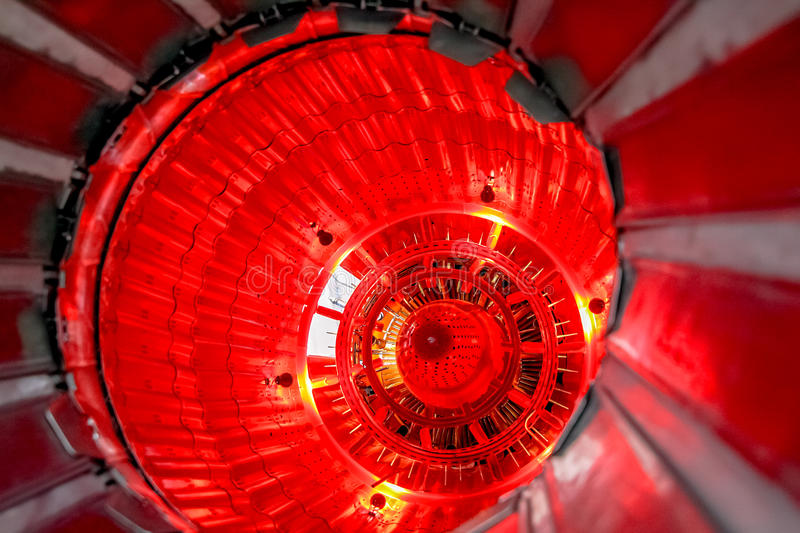 Turbo-jet engine close up. Turbo-jet engine of machine close up red light stock photo