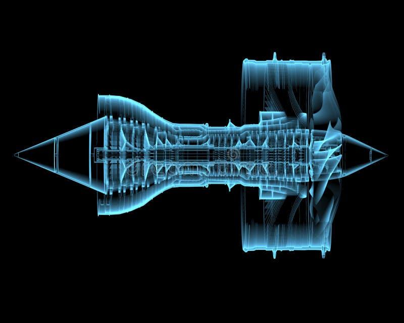 Turbo jet engine (3D xray blue transparent) vector illustration