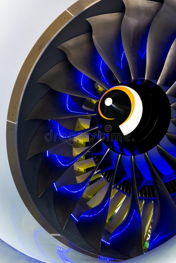 Turbo-jet engine of the plane on close up royalty free stock image
