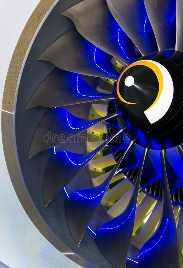Turbo-jet engine of the plane on close up royalty free stock photos