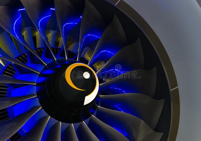 Turbo-jet engine of the plane on close up stock image