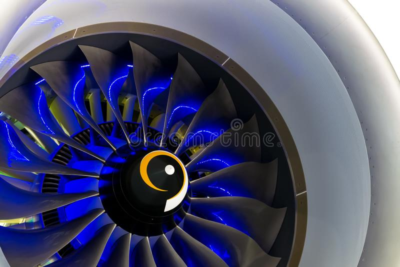 Turbo-jet engine of the plane on close up royalty free stock images