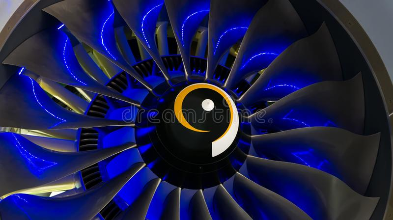 Turbo-jet engine of the plane on close up royalty free stock photography