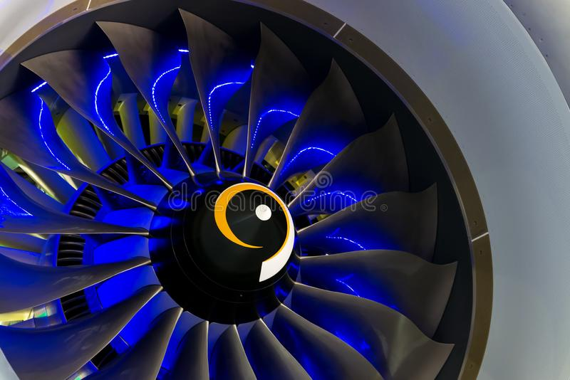 Turbo-jet engine of the plane on close up royalty free stock photo