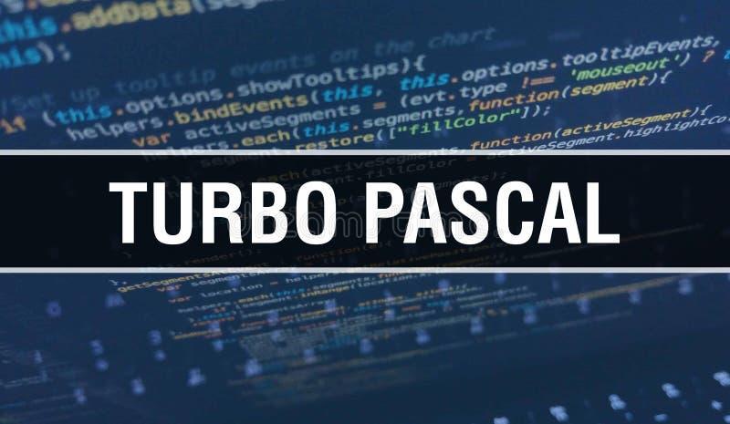 Turbo Pascal med digital java-kodtext Vektorkonceptet Turbo Pascal och Computer Software coding Skriptskript för programkodning j royaltyfri fotografi