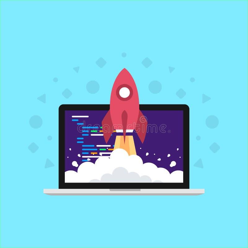 Turbo, raket, super vlakke ontwikkelaar, verhogingscodage stock illustratie