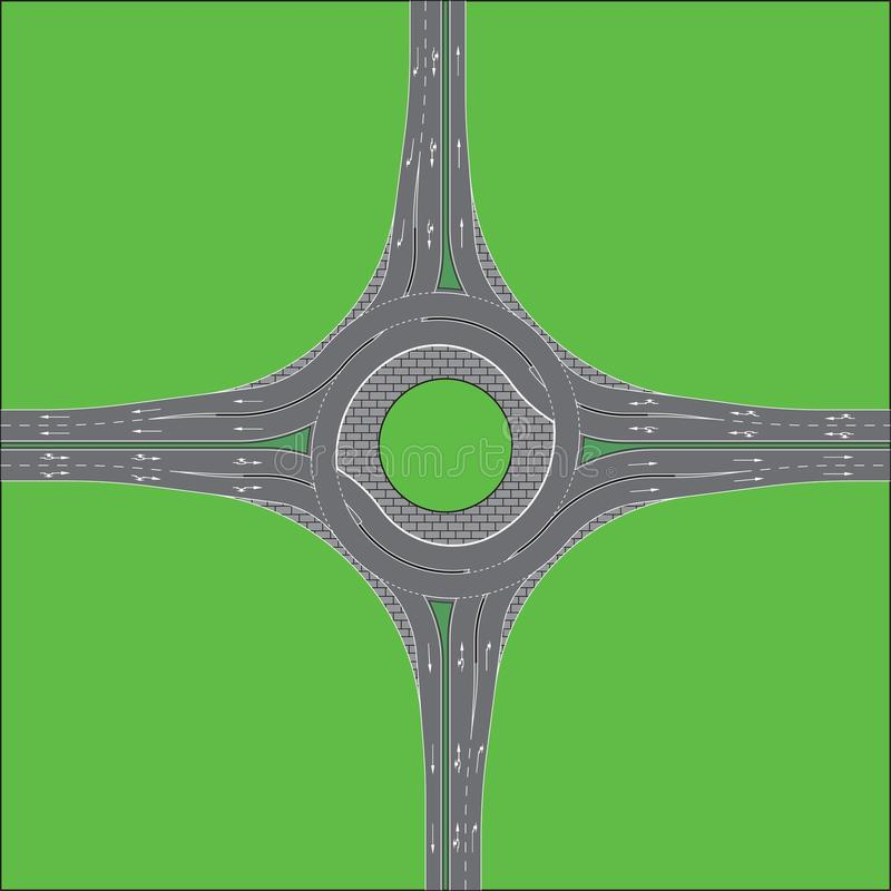 Turbo Roundabout. Fine details of a turbo roundabout stock illustration