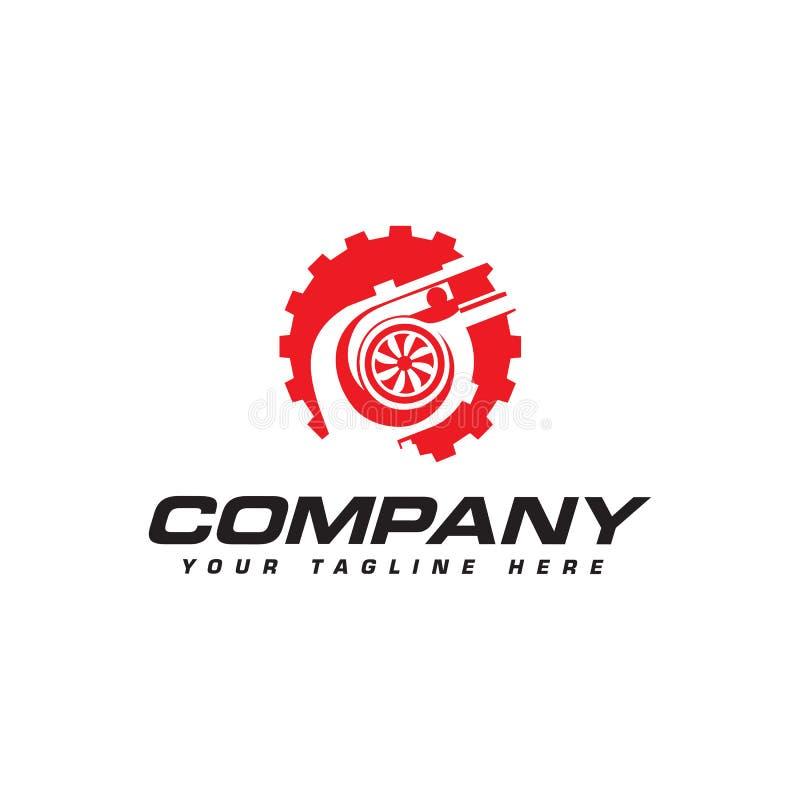 Turbocharger and gear logo. Automotive performance logo stock illustration