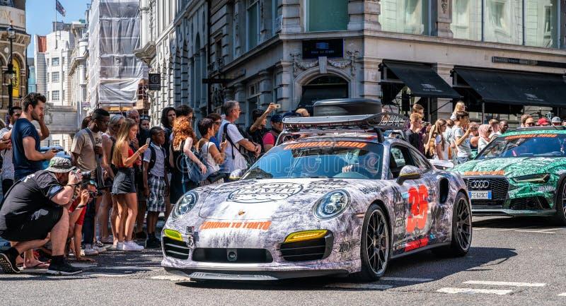 Turbocompressor S de Porsche 911 no evento da reunião 3000 de Gumball fotografia de stock royalty free