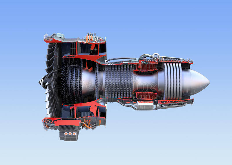 Turbofan jet engine`s cross section wireframe isolated on blue background. 3D rendering image stock illustration