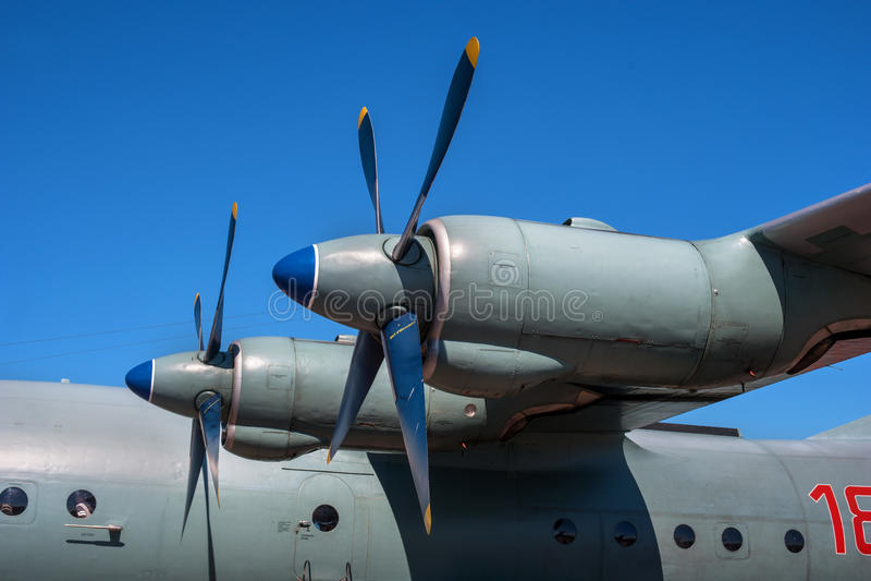 Turboprop met propeller Close-up stock foto