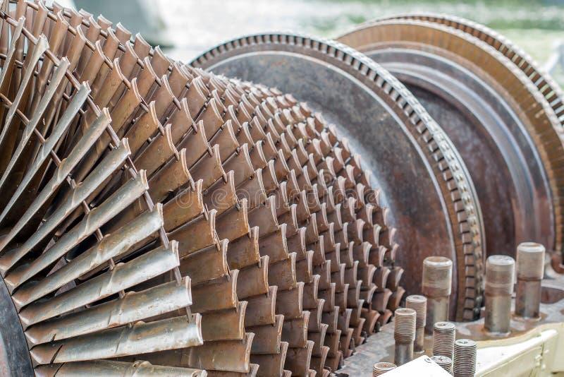 Turbopropulsore e turbina a gas come rotore di turbina con le lame e le eliche fotografia stock