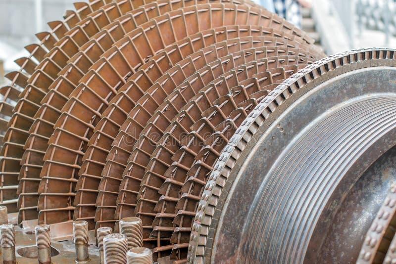Turbopropulsore e turbina a gas come rotore di turbina con le lame e le eliche fotografie stock
