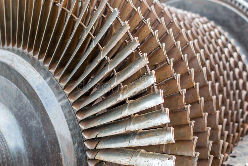 Turbopropulsore e turbina a gas come rotore di turbina con le lame e le eliche fotografia stock libera da diritti