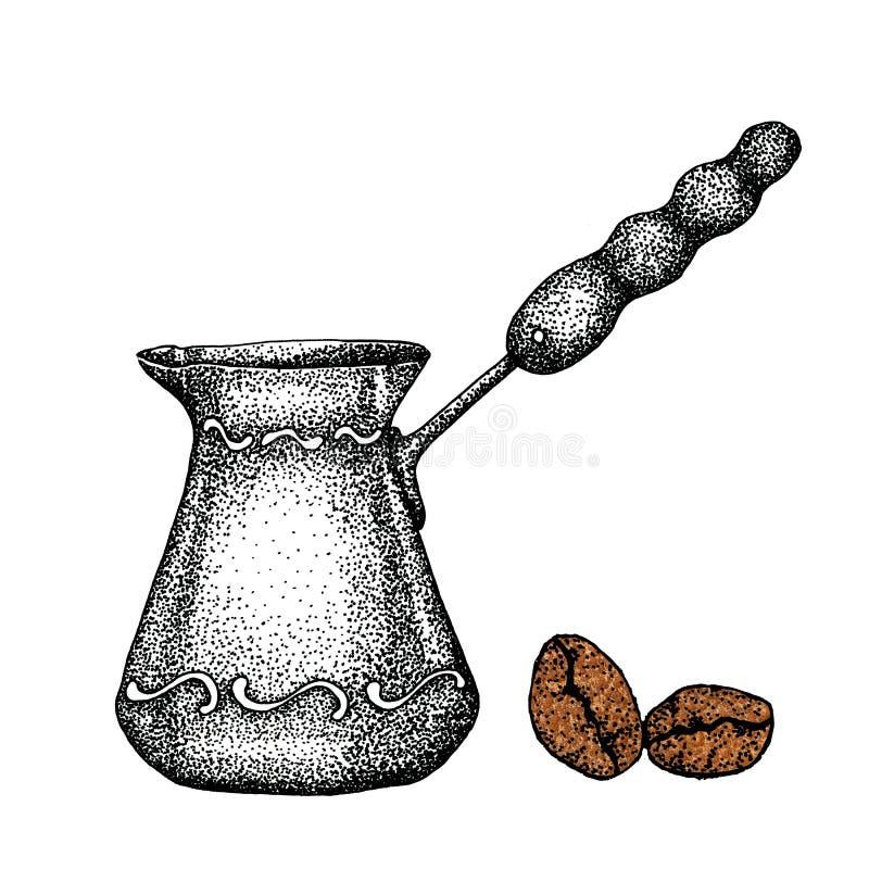 Turc de caf? pour la cuisson et les grains de caf? Illustration ? la main avec le fond blanc pour la conception des copies, milie illustration libre de droits