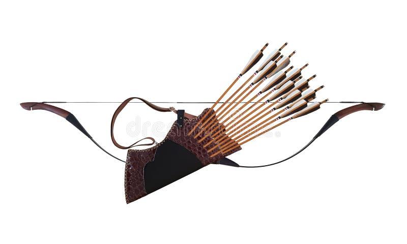 Turc en cuir en bois noir d'arc de cheval de flèche de tremblement de tir à l'arc traditionnel dans Background0 d'isolement blanc photographie stock libre de droits