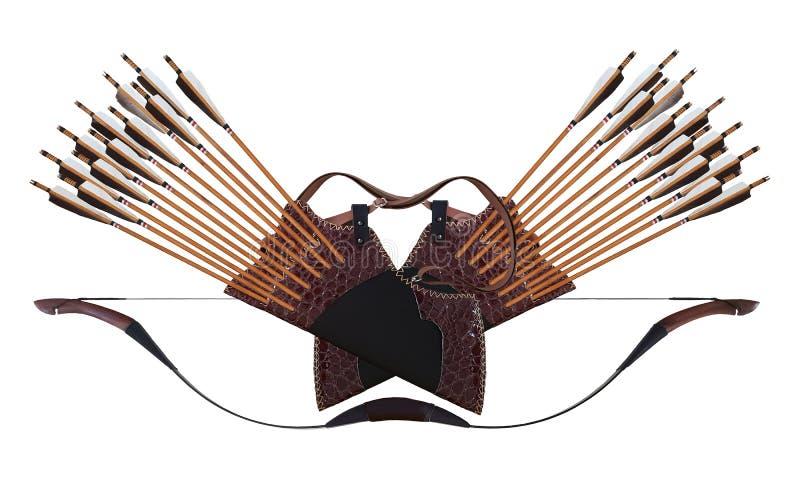 Turc en cuir en bois noir d'arc de cheval de flèche de tremblement de tir à l'arc traditionnel dans Background0 d'isolement blanc photos stock
