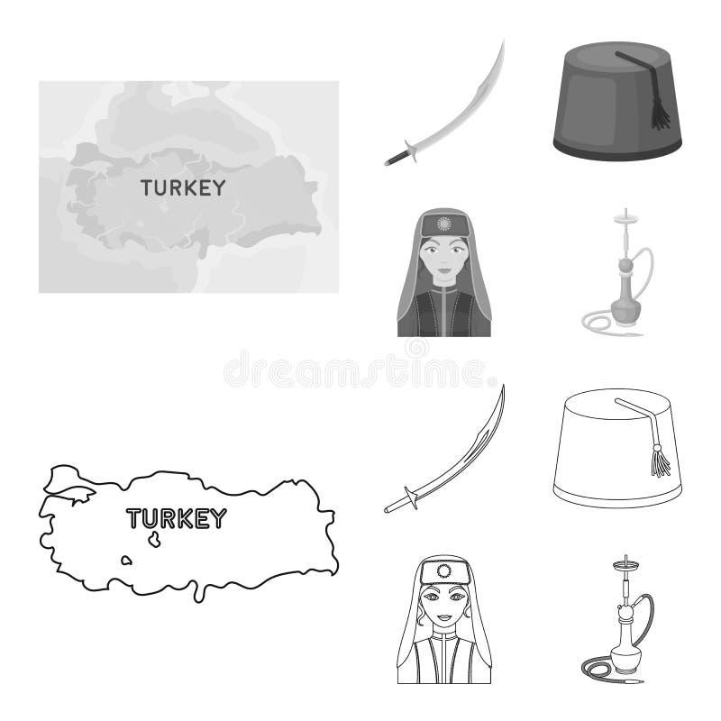 Turc Fez, yatogan, turc, narguilé E illustration libre de droits