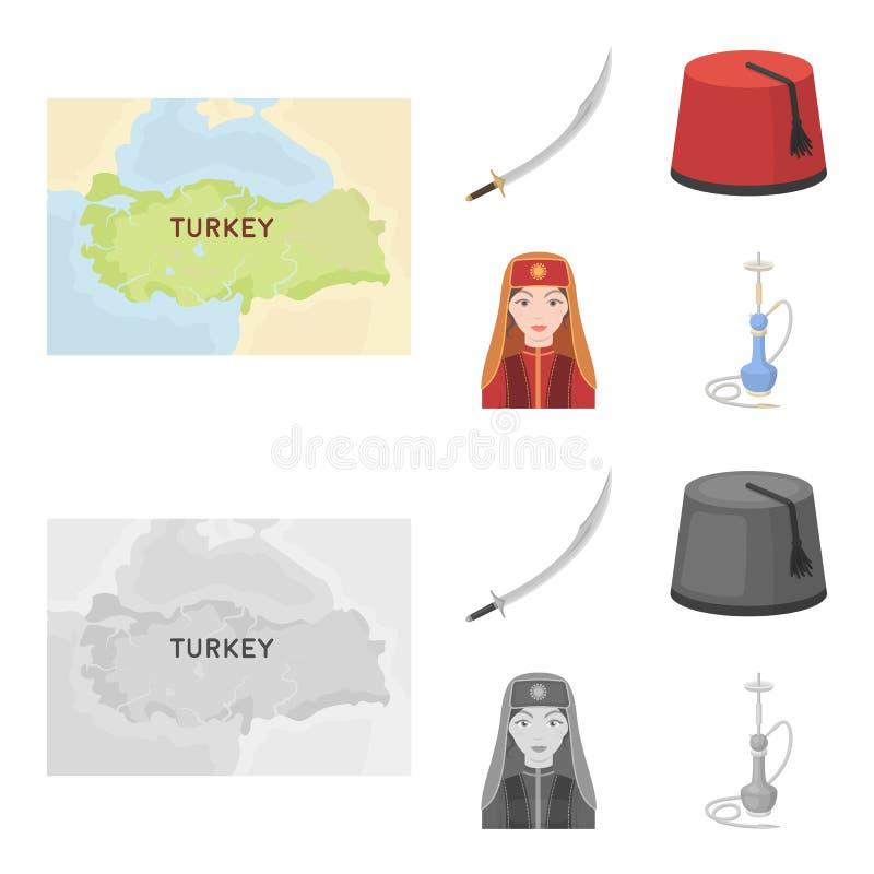 Turc Fez, yatogan, turc, narguilé Icônes réglées de collection de la Turquie dans la bande dessinée, actions monochromes de symbo illustration libre de droits