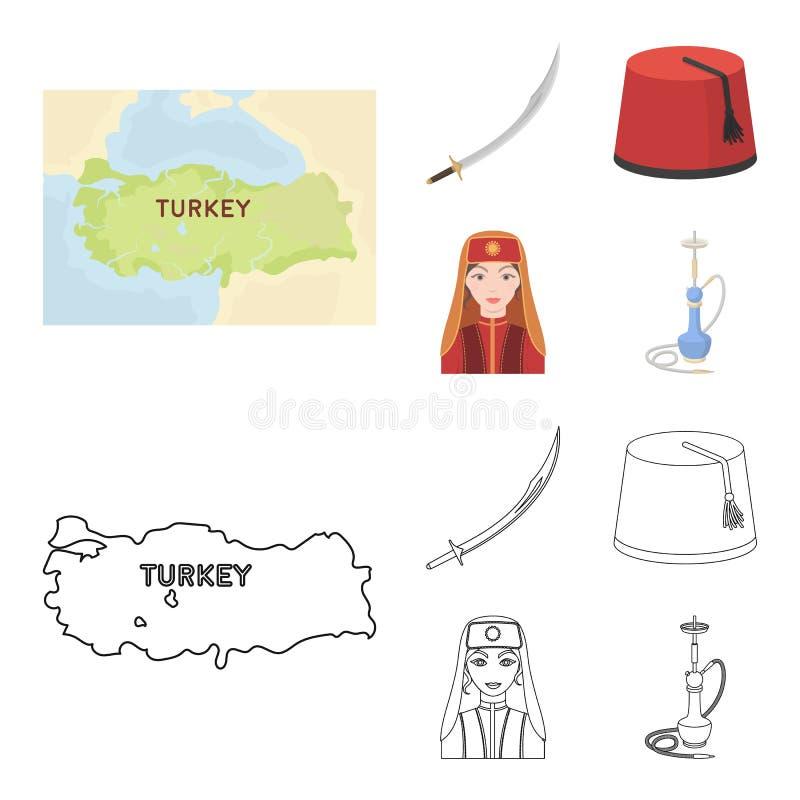 Turc Fez, yatogan, turc, narguilé Icônes réglées de collection de la Turquie dans la bande dessinée, actions de symbole de vecteu illustration libre de droits