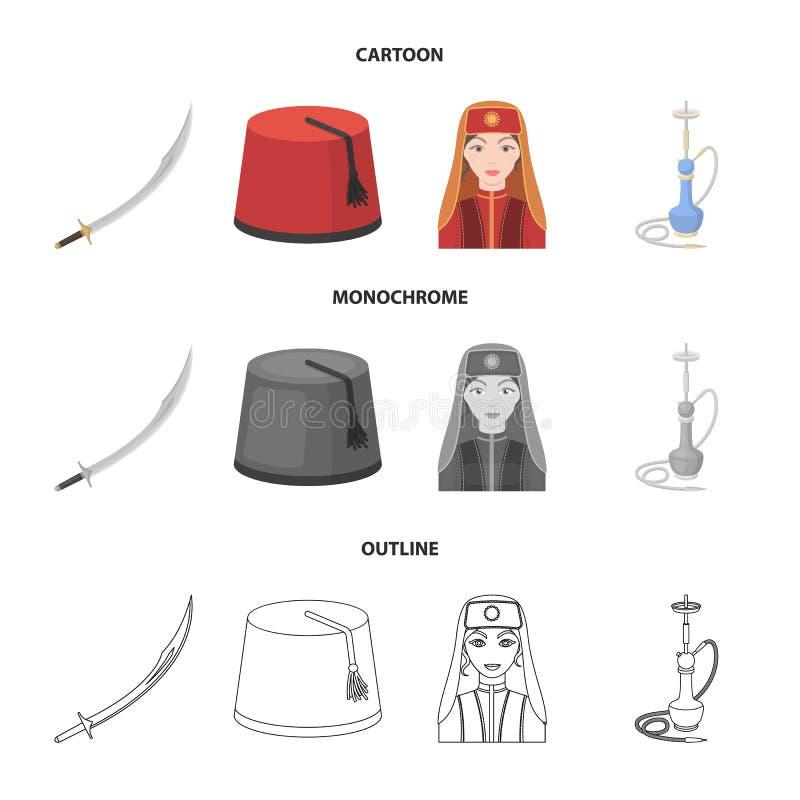 Turc Fez, yatogan, turc, narguilé Icônes réglées de collection de la Turquie dans la bande dessinée, contour, symbole monochrome  illustration de vecteur