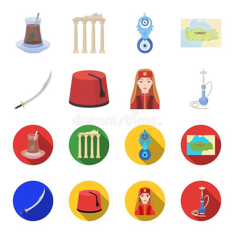 Turc Fez, yatogan, turc, narguilé Icônes réglées de collection de la Turquie dans la bande dessinée, illustration plate d'actions illustration de vecteur