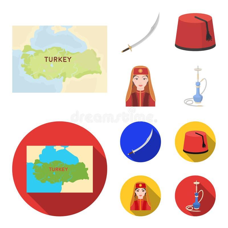 Turc Fez, yatogan, turc, narguilé Icônes réglées de collection de la Turquie dans la bande dessinée, illustration plate d'actions illustration libre de droits