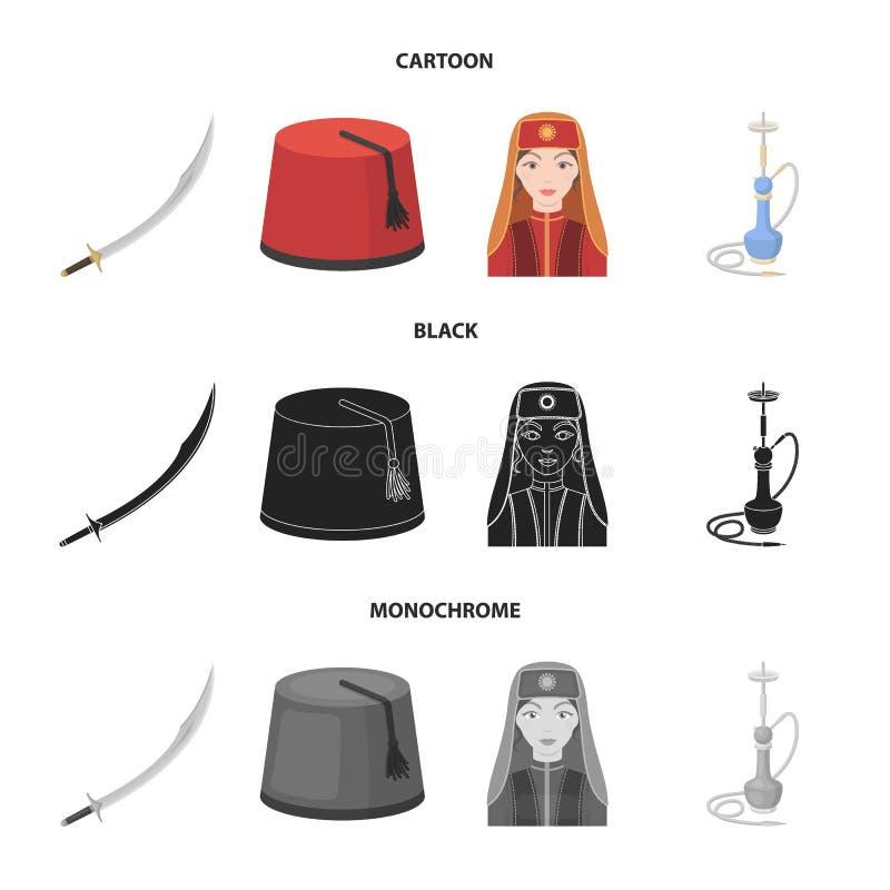 Turc Fez, yatogan, turc, narguilé Icônes réglées de collection de la Turquie dans la bande dessinée, noir, actions monochromes de illustration de vecteur