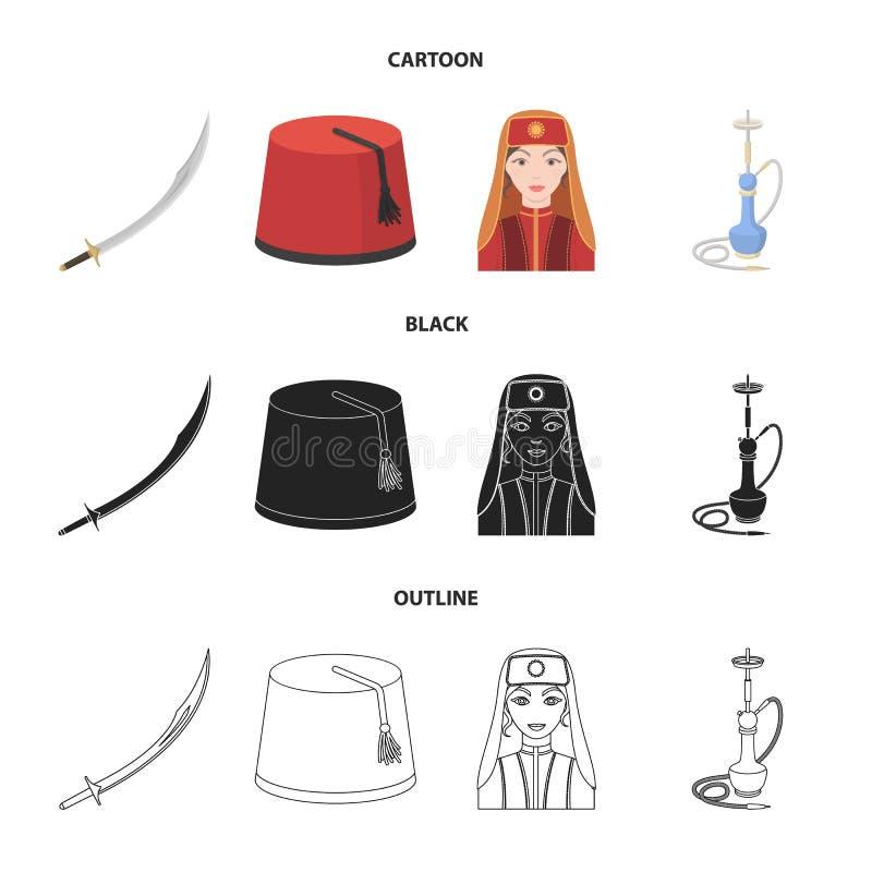 Turc Fez, yatogan, turc, narguilé Icônes réglées de collection de la Turquie dans la bande dessinée, noir, actions de symbole de  illustration stock